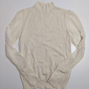 Roolee Sweater White Lace Sleeves Small